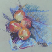Blue fruit, pastel on paper 25 x 26